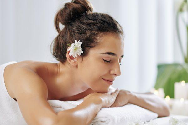 Woman enjoying aroma therapy